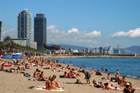 Barceloneta beach in Barcelona, Spain 2012