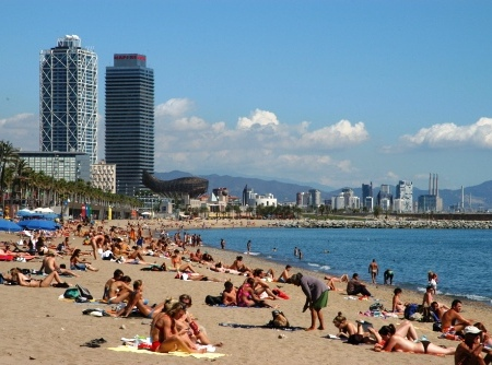 Barceloneta beach in Barcelona, Spain 2012