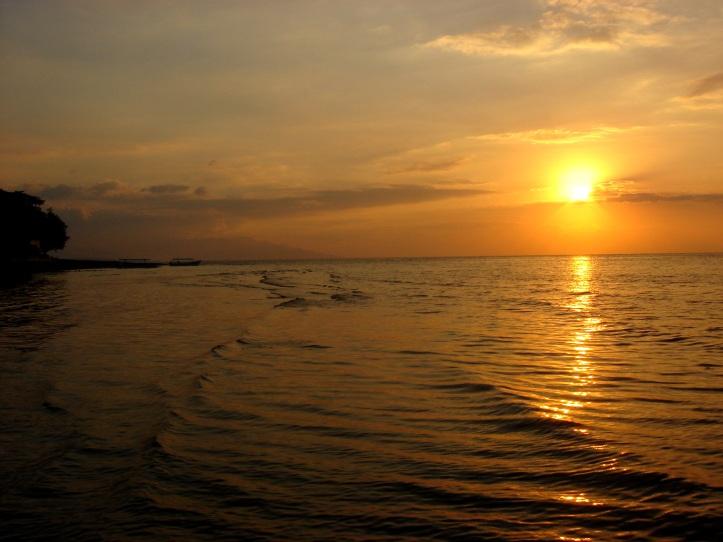 Sunset over Bali Sea, in Bali Indonesia