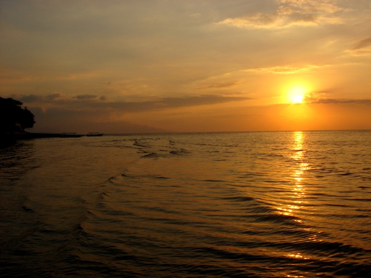 Sunset over Bali Sea, in Bali Indonesia