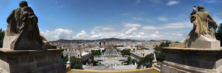 A glimpse of Barcelona from the National Palace on Montjuic hill.