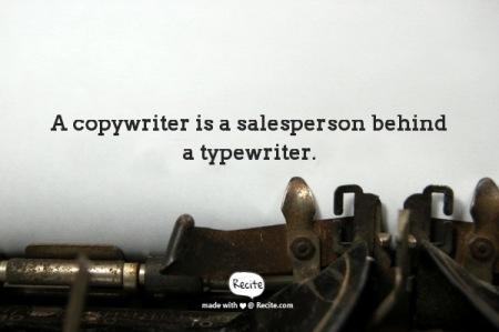 Copywriter - salesperson behind a typewriter